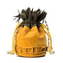 цена на string shoulder bag Bucket bag crossbody bags for women de marca famosa 2019 sac main femme chain pineapple shape personality