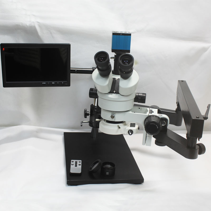 3.5X-90X Trinocular Articulating Arm Pillar Clamp Big Base Zoom Stereo Microscope With 14MP HDMI USB Camera 144 LED Light Source