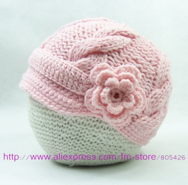 Super soft and cute Hand knitted Newsboy hat with inch short soft visor with side flower embellishment