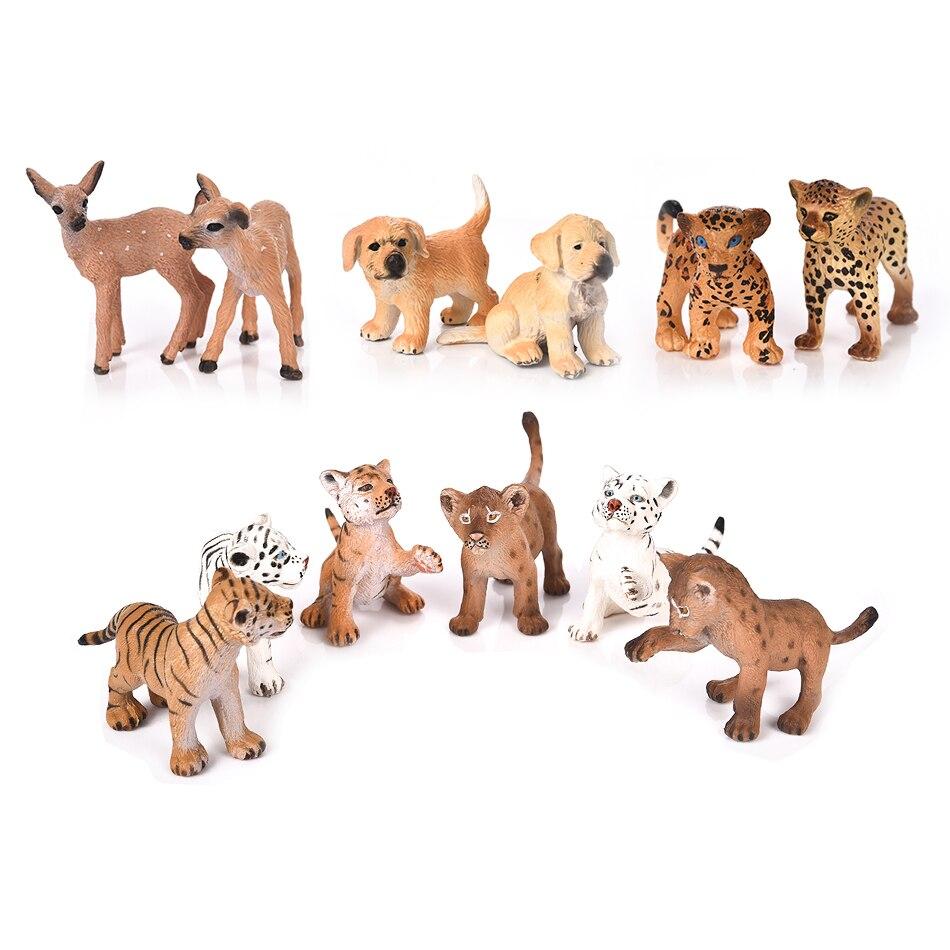 2pcs/Set Animal Tiger Panther Leopard Dog Deer Figurines Micro Landscape Ornaments Miniature Animal Model Home Decoration