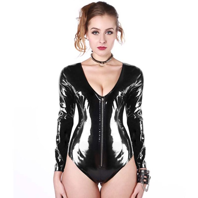 739337ff63f Plus Size Sexy Wetlook PVC Leather Catsuit Lingerie Black Vinyl Long Sleeve  Zipper Front Bodysuit Jumpsuit Erotic Clubwear