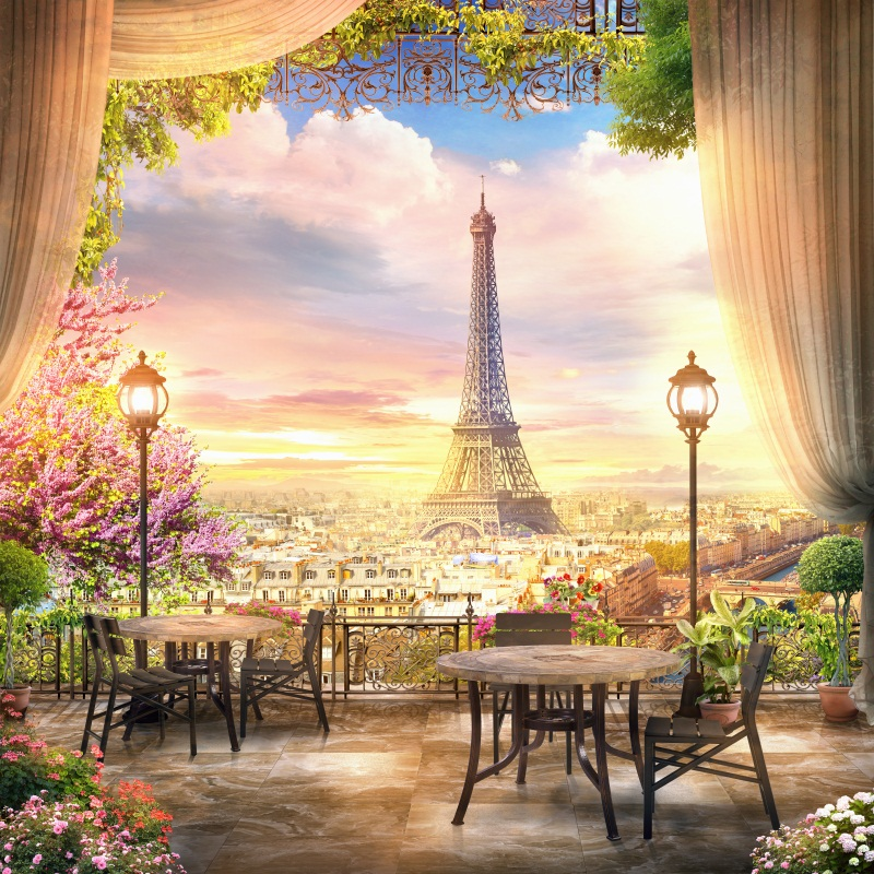 Laeacco twilight eiffel tower paris curtain view platform for Parigi wallpaper