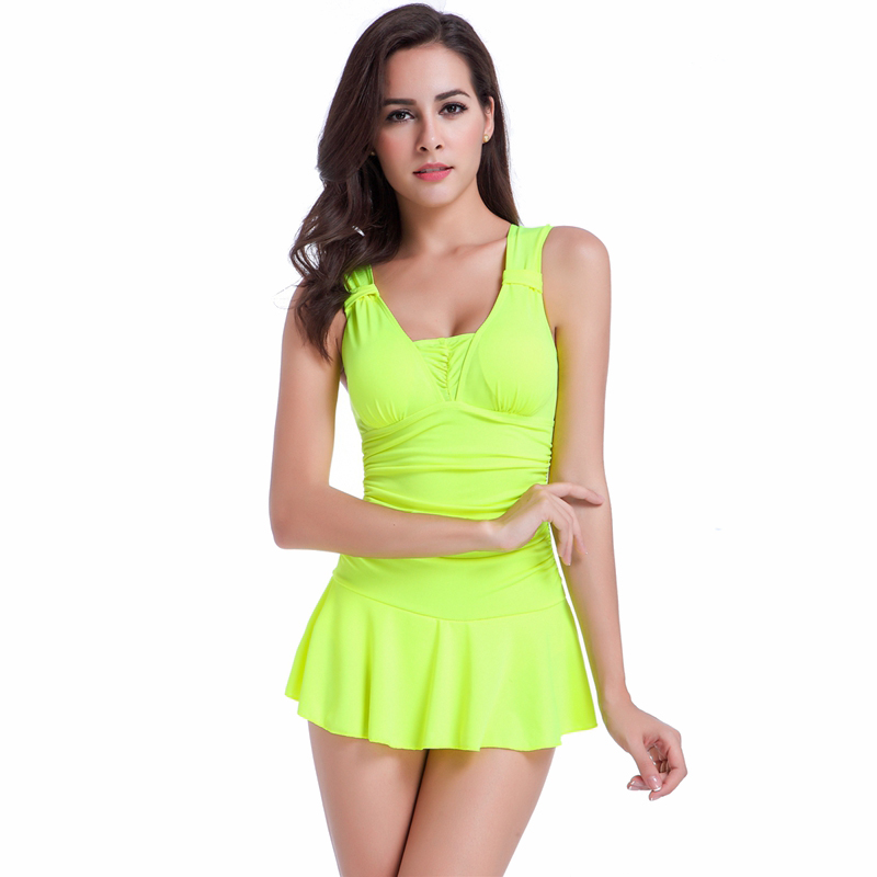 739f78ab3b5fe Skirted Swimsuits Conservative Sport One piece Bathing Suits for Women  Solid Color Belly Cover Up Slim Swimwear Swimsuit Skirt -in Body Suits from  Sports ...