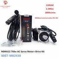 NEMA32 2.39Nm 0.75kw 80mm Flange AC Servo Motor+Driver Kit 80ST M02430 220V 750w 3000r/min MODbus for CNC Machining Equipment