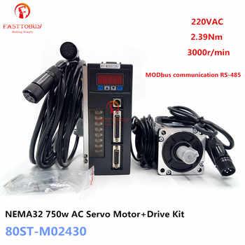 NEMA32 2.39Nm 0.75kw AC Servo Motor+Driver Kit 80ST-M02430 220V 750w 3000rpm RS485 MODbus for CNC Machining Equipment - DISCOUNT ITEM  18% OFF All Category