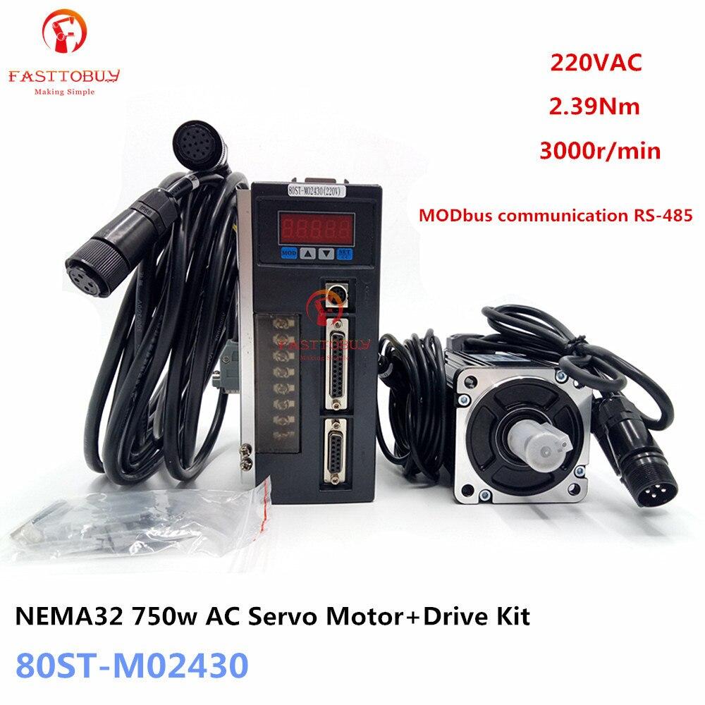 NEMA32 2.39Nm 0.75kw AC Servo Motor + Drive Kit 1/3-fase 220 V 750 w 3000r/min 80ST-M02430 MODbus para Material máquina de transporte
