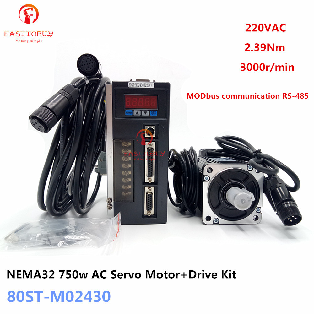 NEMA32 80mm 750w 220V 2.39Nm 3000r/min AC Servo Motor+Drive Kit 80ST-M02430 MODbus communication for Material Conveying Machine 1kw nema32 ac servo motor drive kit 4nm 220v 2500r min 80mm 80st m04025 1000w for cnc machine 3m encoder cable 2 years warranty