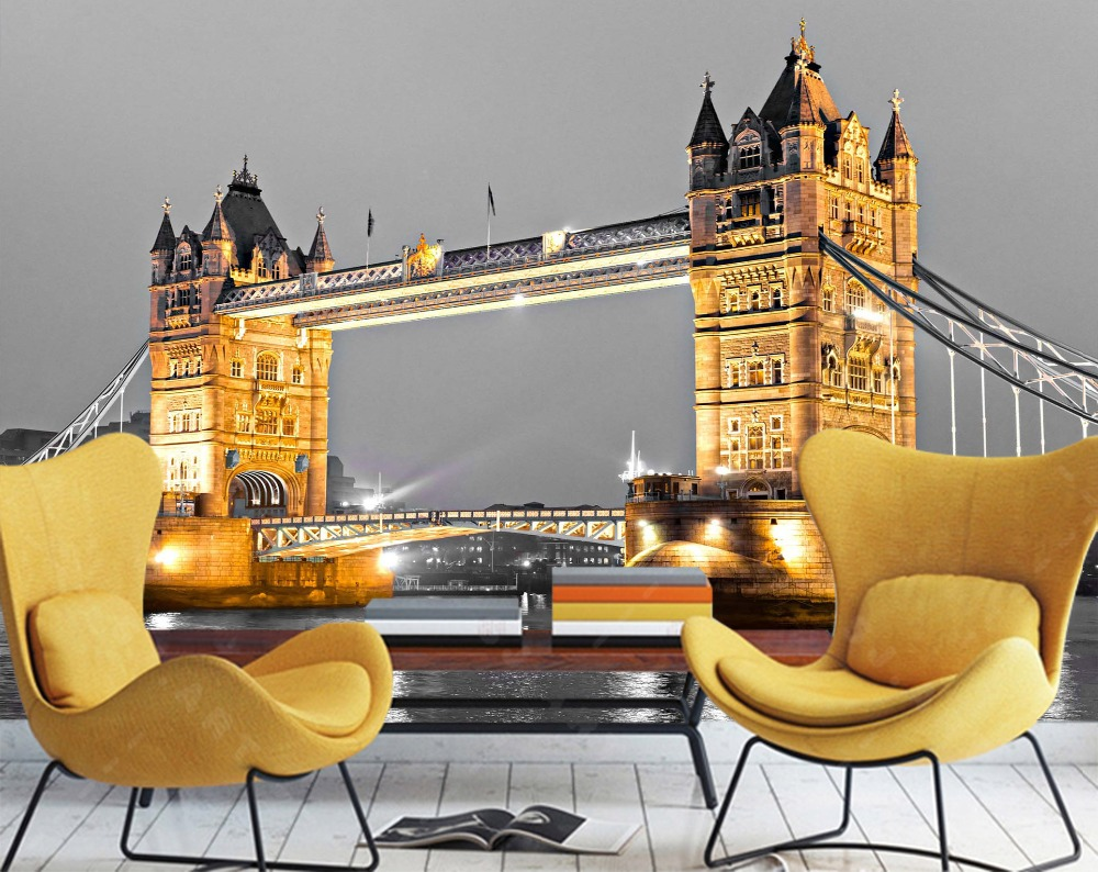 [Self-Adhesive] 3D Beautiful London Tower Bridge Night View 33 Wall Paper Mural Wall Print Decal Wall Murals