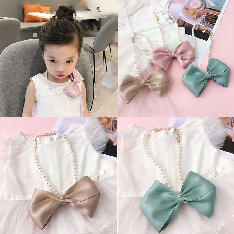 Korea New Handmade Cute Cloth Cartoon Bow Knot Pearl Children Kids Girl Necklaces Fashion Jewelry Accessories