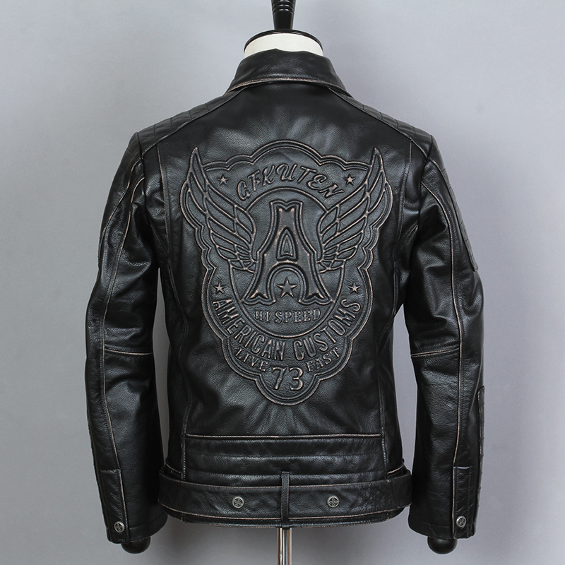 Jacket Genuine-Leather Coat Biker Cowskin Vintage Fashion Zippered Lapel Waistband Men