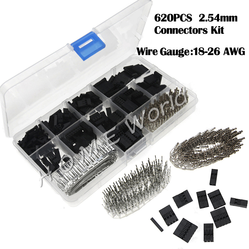 620PCS Dupont Connector 2.54mm Dupont Cable Jumper Wire 1~6 Pin Header Housing Kit Male Female Crimp Terminal Adaptor Assortment 2 54mm dupont wire cable jumper pin header connector housing kit 310 pcs male crimp pins female pin connector terminal pitch