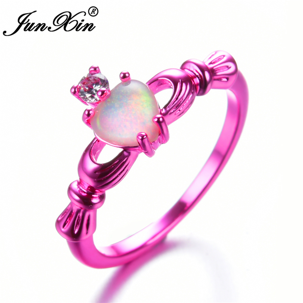 JUNXIN Female White Fire Opal Ring Fashion Pink Gold Filled Jewelry ...