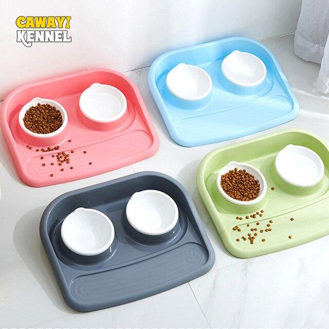 CAWAYI KENNEL Dual Port Dog Water Dispenser Feeder Utensils Bowl Cat Drinking Fountain Food Dish Pet Bowl D1332