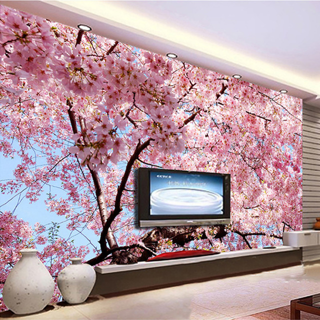 Custom Wall Cloth Romantic Cherry Blossom Landscape Photo Mural ...