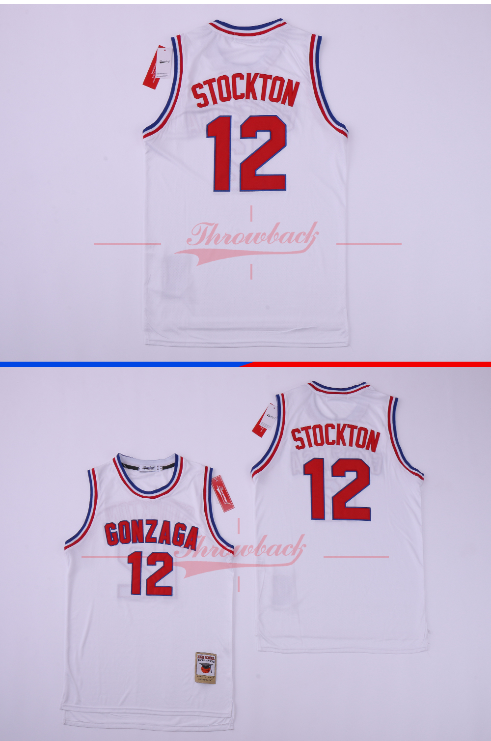 1e7f3b21f90e John Stockton Jersey 12 Gonzaga University College White Basketball ...