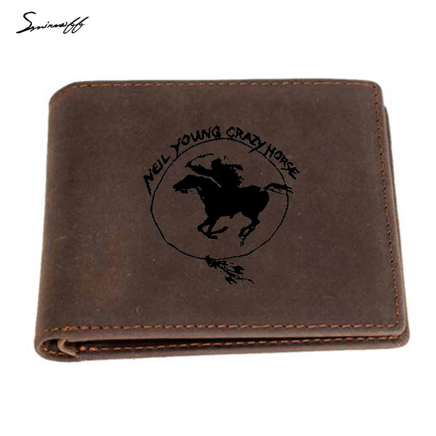 146356a59505c Neil Young Crazy Horse Leather Wallet Men Inside Zip Pocket Purse FRID  Blocking Card Holders Custom Logo wallet Men Gifts