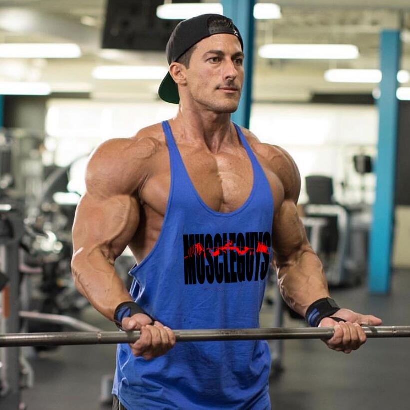 Brand Fitness Clothing Bodybuilding Stringer Tank Top Men Cotton Curved Hem Y Back Sleeveless Shirt Workout Vest Gyms Singlets