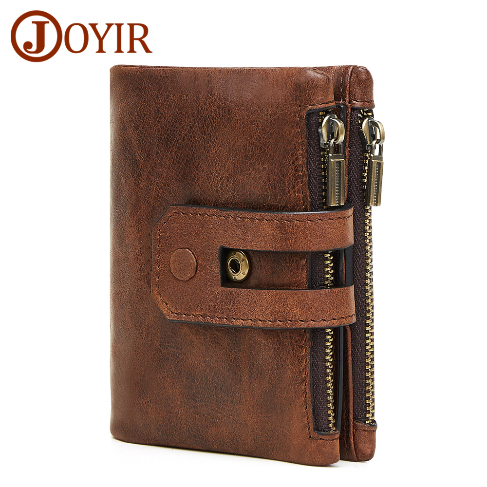 JOYIR Men Wallet Leather Genuine Vintage Coin Purse Zipper&Hasp Men Wallets Small Perse Solid RFID Card Holder Carteira