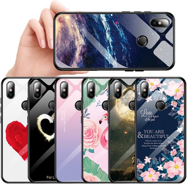 Vidrio templado de teléfono caso para Xiaomi mi 8 mi A2 Lite A1 mi 8 9 Redmi 6 Pro 5 Plus Nota 6 7 Pro 7 5 Pocophone F1 caso cubierta de lujo