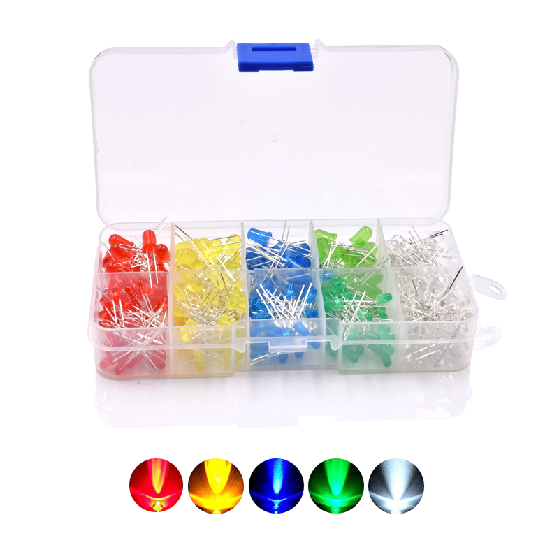 375Pcs 3MM 5MM LED Light-emitting Diode Beads Resistance Lights Kits Bulb Lamp