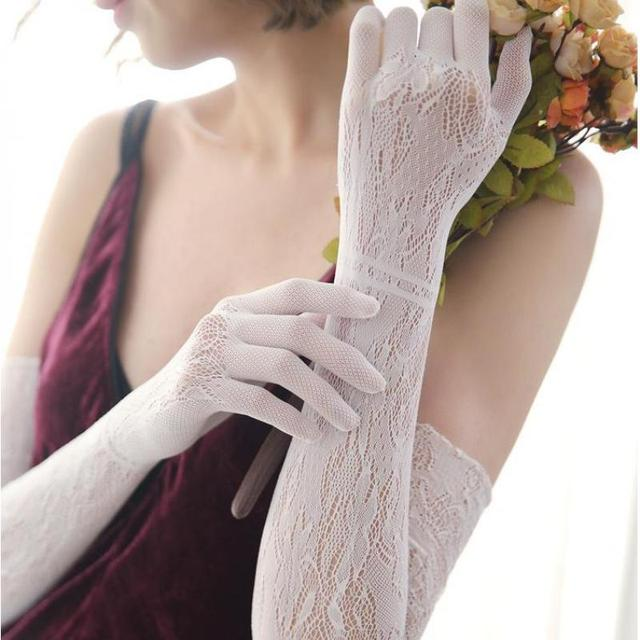 Lace Long Gloves Women Sexy Black White Openwork Evening Opera Glove Ladies