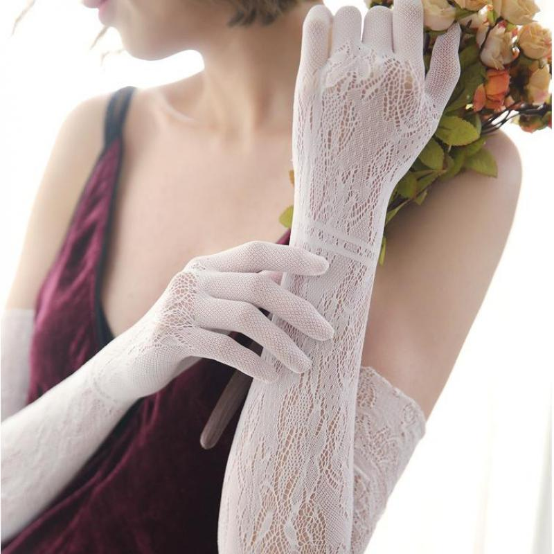 2018 New Lace Long Gloves Women Sexy Black White Openwork Evening Opera Glove Ladies Summer Sunscreen Driving Gloves 50cm AGB233