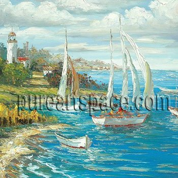 Hand Painted Sailboat oil paintings By palette knife Blue Seascape oil paintings Decor For Home Living Room