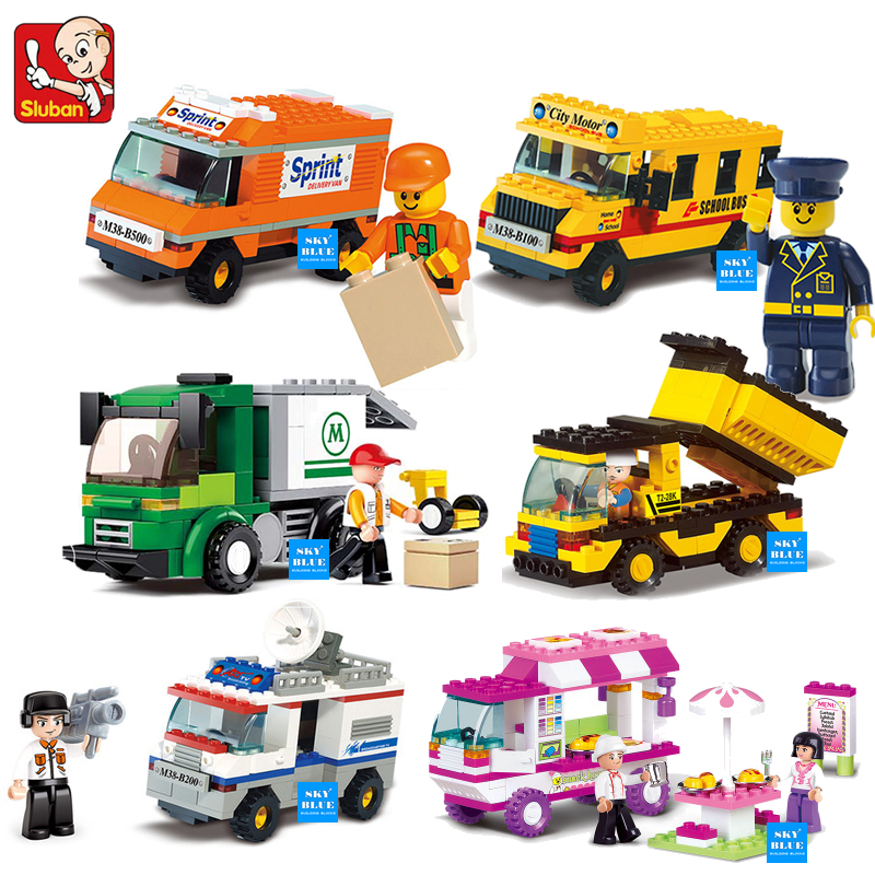 Building Blocks City House Snack Car TV Express Police Truck school bus Brick girls Toy Compatible Legoe