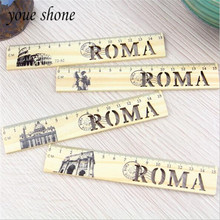 Creative retro hollow wood straight ruler lovely hollow wood ruler 15cm student supplies panda ruler 15cm