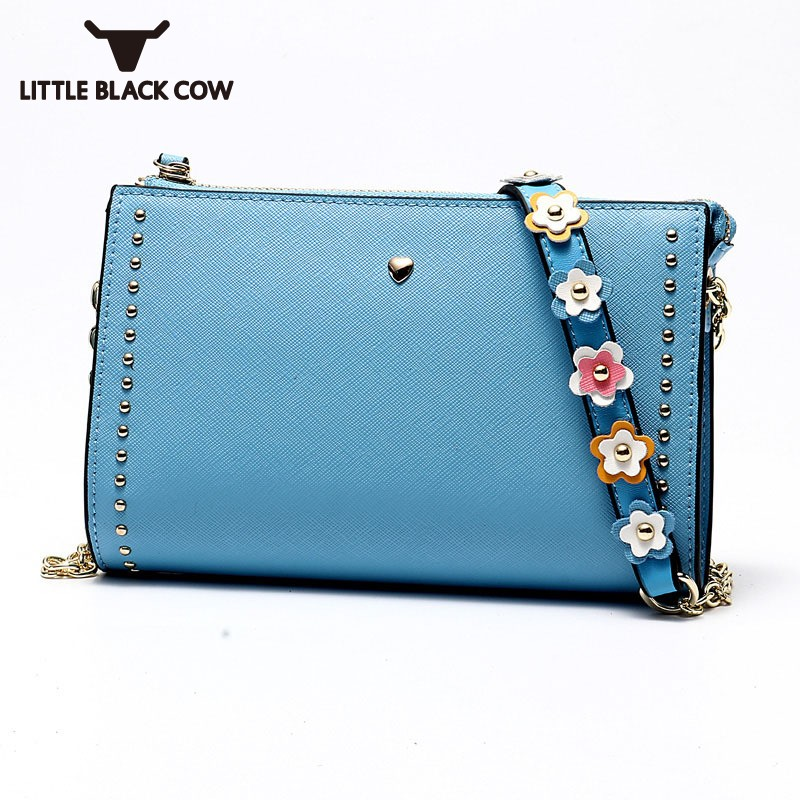 Chic Floral Chains Rivet Ladies Crossbody Bags Top Quality Leather Shoulder Bag Women Designer Party Small Bags Female Pink BlueChic Floral Chains Rivet Ladies Crossbody Bags Top Quality Leather Shoulder Bag Women Designer Party Small Bags Female Pink Blue