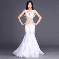 2017 Woman Female Belly Dance Costume 2 Color Blue White Female Showing Belly Dancing Clothing Woman