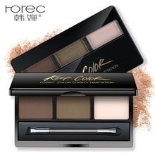 ROREC Waterproof Eyebrow Stamp Powder Cake Powder, Dark Brown/Brown Beauty Makeup Tool EyeBrow Seal Quick