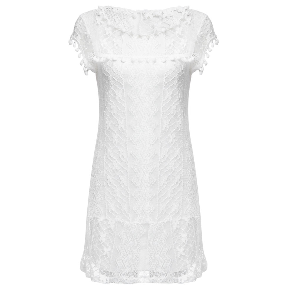 VESTLINDA Lace Dress Women O Neck Sleeveless Solid White Dress Summer 2017 Fresh Style Loose Mini Short Dress Vestidos Plus Size 11