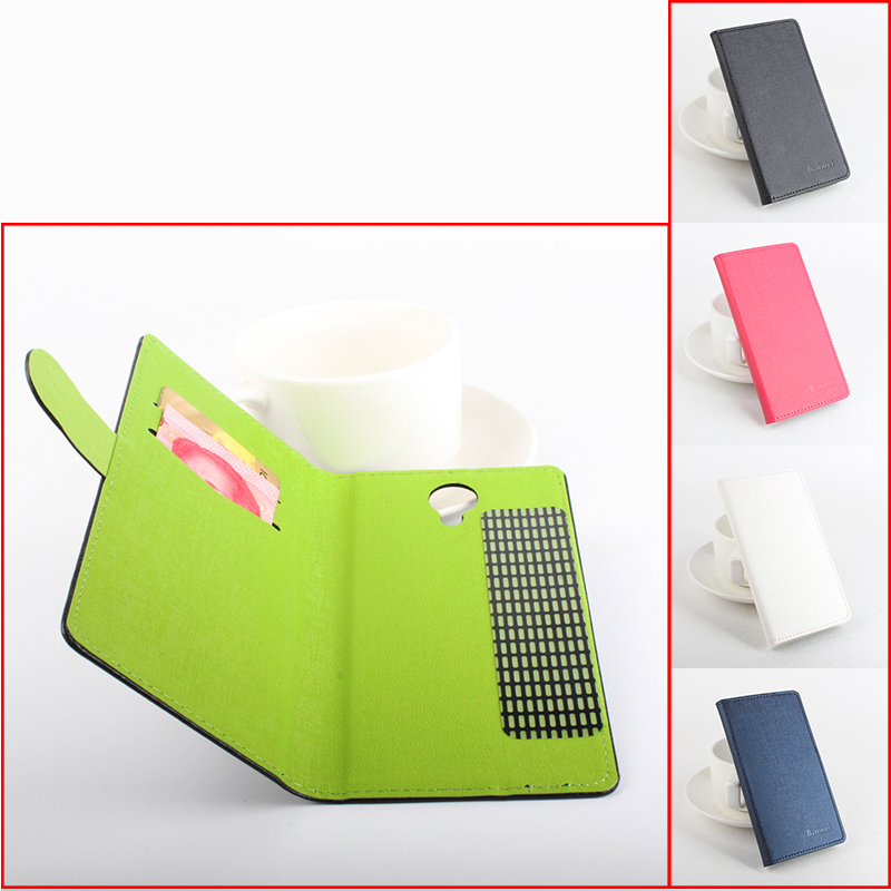 For HT7 luxury Left Right Flip Hit Color With 2 card slots With Stand Leather case For Homtom HT7 Smartphone 4 colors