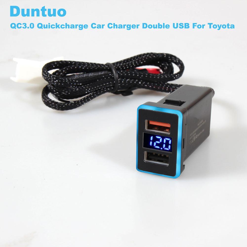 100 piezas para Toyota QC3.0 Quickcharge pantalla voltaje amperie cargador de coche doble USB teléfono DVR adaptador Plug & Play Cable