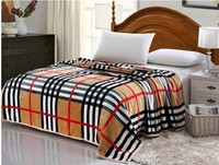 High Density Thicken Soft Flannel Blanket 4 Size Sofa Bed Sheet 8 Designs Plaid Double Side