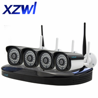 Wireless 4CH CCTV System Wireless NVR WIFI IP Camera HD 1 0MP Outdoor CCTV Home Security