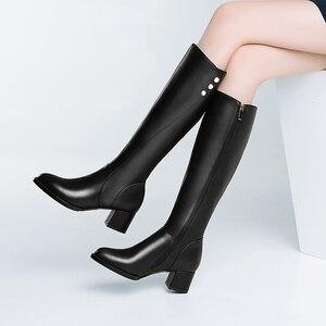 Image 5 - Salu botas de inverno botas femininas na altura do joelho botas quentes nova moda couro genuíno sapatos femininos dedo do pé redondo preto senhoras tamanho 41 42 43
