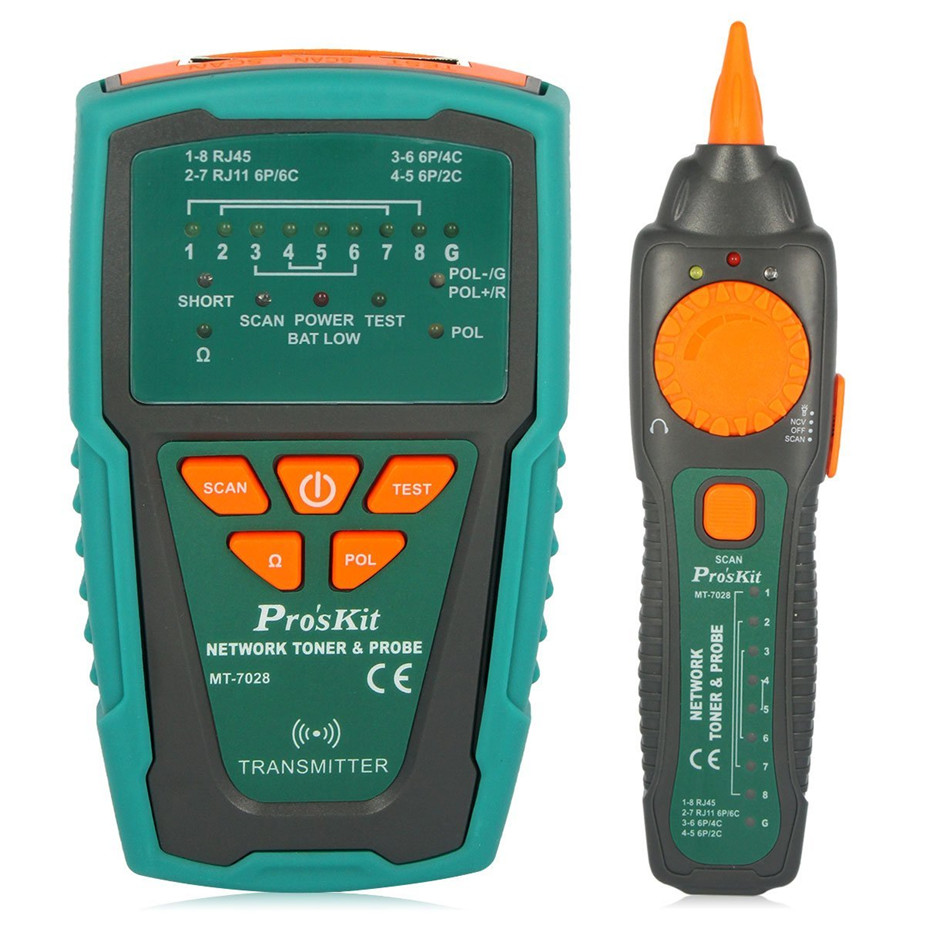 Pro'sKit MT-7028 Network Toner Probe Kit Audio Network Check Line Tester Tracker Networking, Datacom, Audio / Video, TV Cable mt 7028 audio cable tester for audio network search and cable fault tester