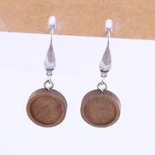 shukaki 5pairs Fit 12mm round glass cabochon wood earring base blanks diy stainless steel earrings hooks findings for jewelry цены онлайн