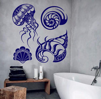 New Arrivals Conch Wall Decal Vinyl Shells Marine Style Bathroom Design Jellyfish Stickers Waterproof Removable Home Mural LA878
