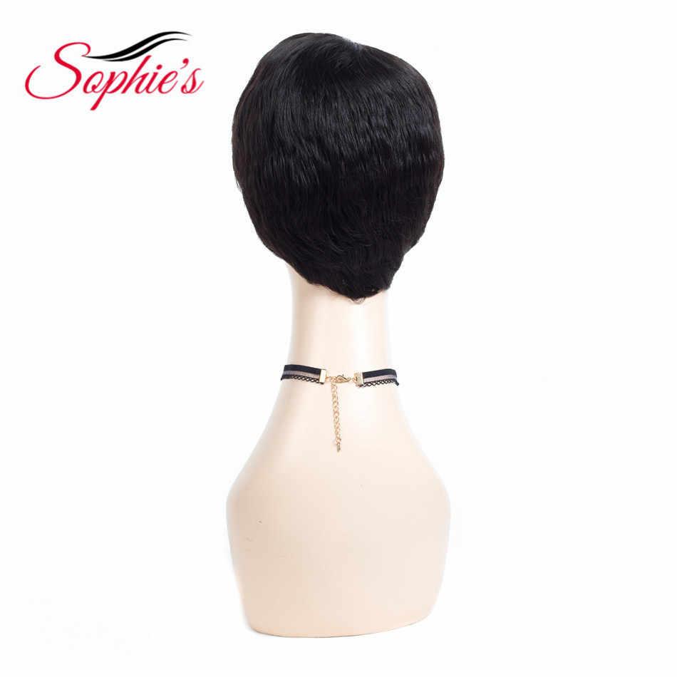 Sophie'nin kısa insan saçı Peruk Kadınlar Için Brezilyalı Doğal Dalga Olmayan Remy İnsan Saç Hiçbir Koku H. ANNA Peruk Kabarık 10 inç _ _ _ _ _ _ _ _ _ _ _ _ _ _ _ _ _ _ _ _ g