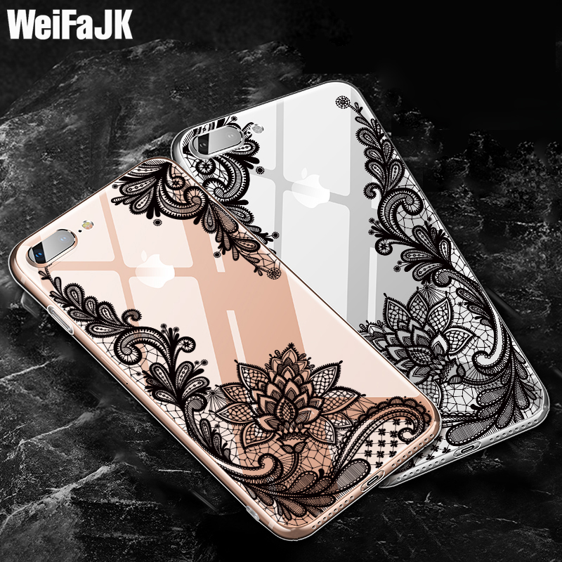 WeifaJK 3D Luxury Flower Patterned Case For iPhone 8 7 7Plus 6 6s Cases Lace Silicone Soft Case For iPhone 6 6s 7 8 Plus X Cover
