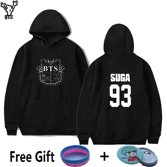 ef882a04a3f72 BTS Hot Sale Bangtan Boys Fashion Design Long Sleeve Women Hoodies  Sweatshirts SUGA 93 BTS Black Sweatshirt Women Brand XXS 4XL