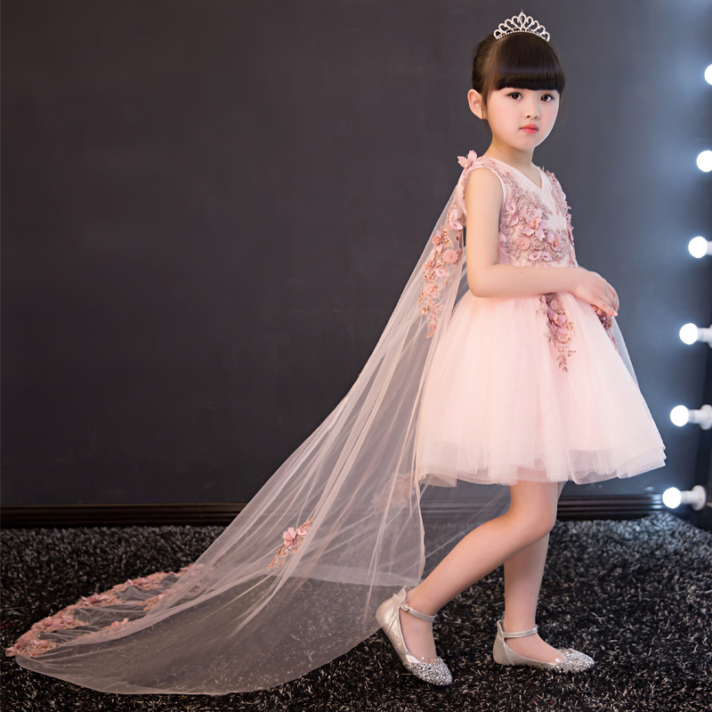 High Quality 2017 Knee Length Lace Tippet Embroidery Appliques Kids Dress For Girl Flower Girls Dress For Wedding Prom Party P58 knee length belted summer party clothing wedding dress kids 4 to 10 11 12 13 14 15 years 2017 child ivory flower girl lace dress