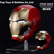 The Avengers 1:1 Iron Man mk46 Mask Helmet Head 62CM Automatic On-off Circumference Under Iron Man Party Mask MK46 Metal version the avengers iron man helmet cosplay touch sensing mask with led light marvel superhero iron man adult motorcycle abs helmet