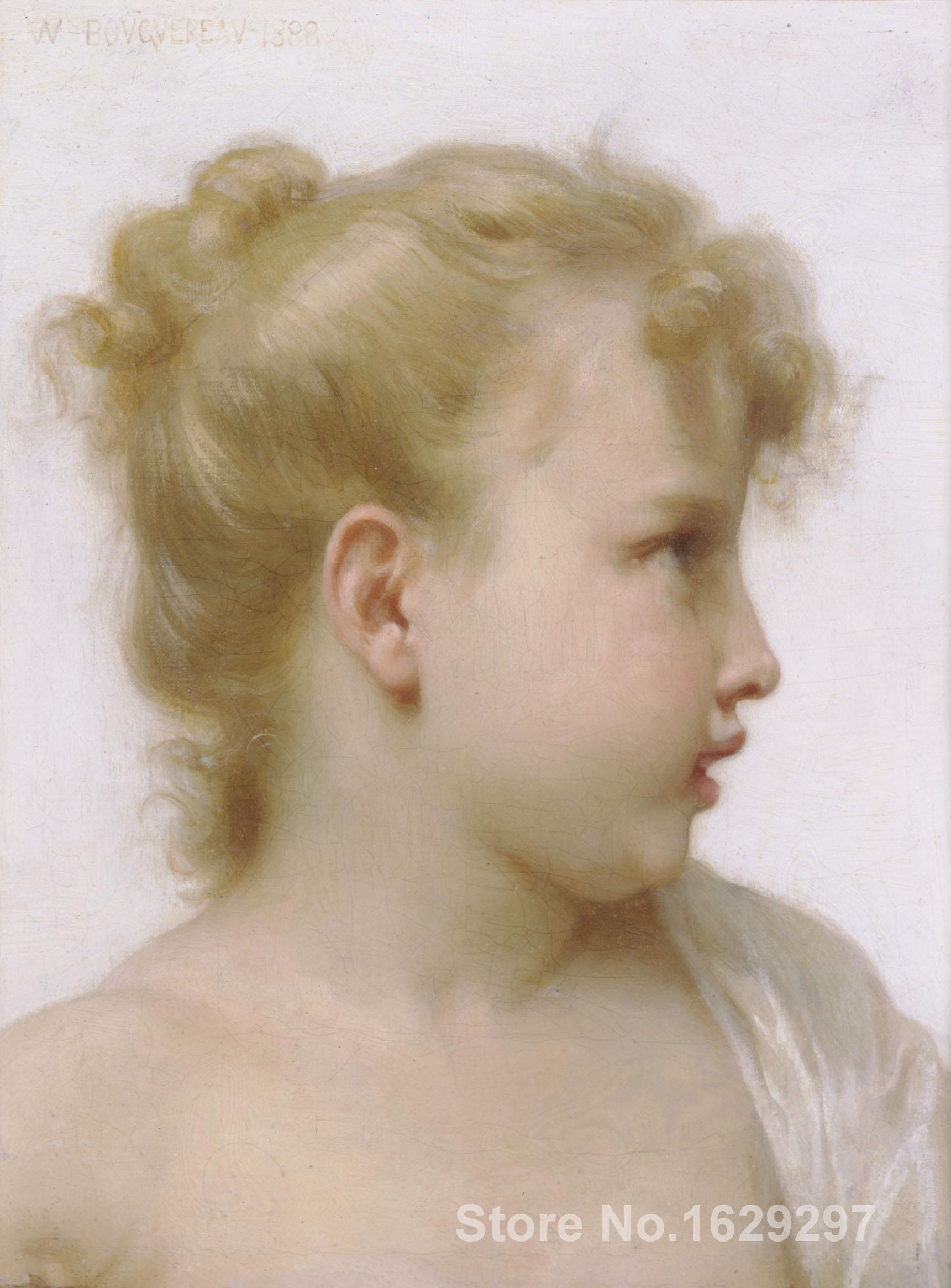 Tête d'une petite fille peintures de William Adolphe Bouguereau art impressionniste de haute qualité peint à la main