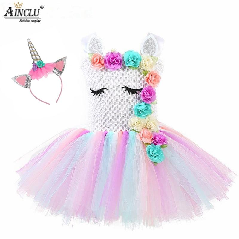 Flower Embroidery Girls Unicorn Tutu Dress Pastel Rainbow Princess Girls Birthday Party Dress Children Halloween Unicorn Costume