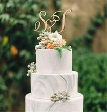 Пользовательские начальные буквы торт Топпер персонализированные имя свадебный торт Топпер деревенском Свадебный декор свадебные подарки