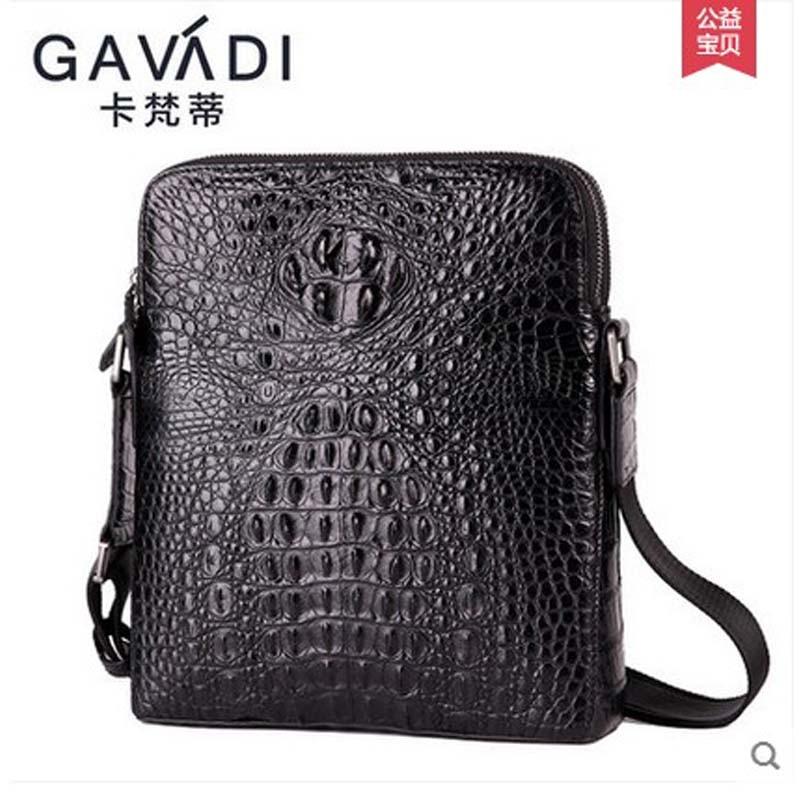 kafandi cocodrilo bolso de hombro único bolso de hombre doble cremallera lujo business casual bolso de cuero de cocodrilo